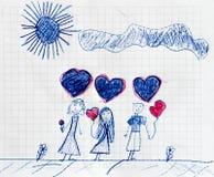 Famiglia felice unita, immagini disegnate a mano Immagine Stock Libera da Diritti