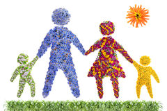 Famiglia floreale felice Immagini Stock