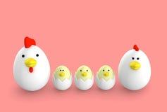 Famiglia a forma di del pollo dell'uovo, illustrazione 3d Immagini Stock Libere da Diritti