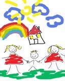 Famiglia gaia felice Fotografia Stock Libera da Diritti