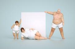 Famiglia grassa con il segno vuoto Immagine Stock Libera da Diritti