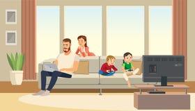 Famiglia nel paese Cura della madre circa il padre bambini che giocano la console del gioco Personaggi dei cartoni animati di vet illustrazione vettoriale
