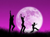 Famiglia nella luna Fotografia Stock Libera da Diritti
