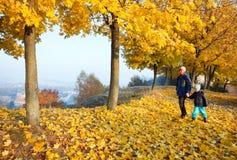 Famiglia nella sosta dell'acero di autunno fotografie stock