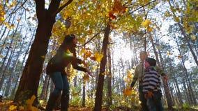 Famiglia nelle foglie delle foglie della foresta di autunno video d archivio