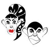 Famiglia nelle scimmie di amore Fotografia Stock