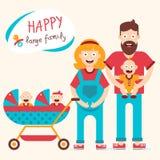 Famiglia numerosa felice Fotografia Stock