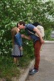 famiglia Padre e figlia bacio fotografia stock