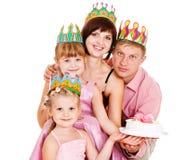 Famiglia in parti superiori di compleanno Fotografia Stock Libera da Diritti