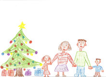 Famiglia per natale Royalty Illustrazione gratis