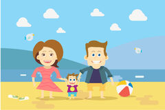 Famiglia piana di progettazione sul vettore della spiaggia Immagine Stock