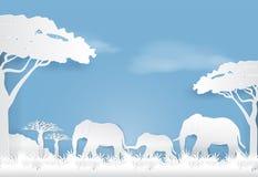 Famiglia in prato, BAC di carta degli elefanti del paesaggio della natura di stile di arte illustrazione vettoriale