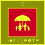 Famiglia sotto l'ombrello - la famiglia protegge l'icona Fotografie Stock