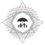 Famiglia sotto l'ombrello - la famiglia protegge l'icona Immagine Stock