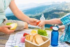 Famiglia su un picnic nelle montagne Fotografie Stock