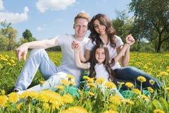 Famiglia sul prato dei fiori immagini stock