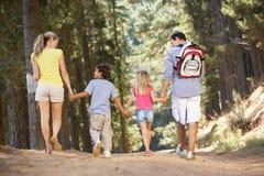 Famiglia sulla camminata del paese Fotografie Stock