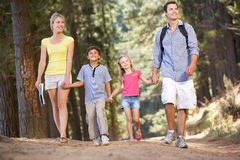 Famiglia sulla camminata del paese Fotografie Stock Libere da Diritti