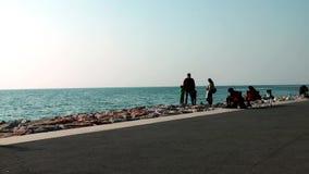 Famiglia sulla spiaggia stock footage