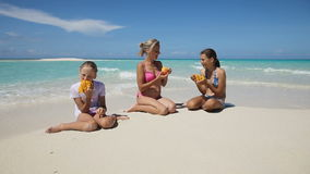 Famiglia sulla spiaggia che mangia la frutta del mango archivi video