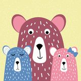 Famiglia sveglia degli orsi, orso e cuccioli di orso, disegnati a mano, illustrazione di vettore di stile del fumetto per progett illustrazione vettoriale