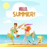 Famiglia sveglia del fumetto che cammina sulla spiaggia nelle vacanze estive Immagini Stock