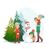 Famiglia sveglia del fumetto che gode della vacanza di inverno nella foresta di inverno Immagine Stock