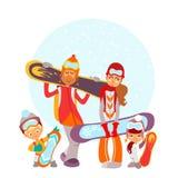 Famiglia sveglia del fumetto con gli snowboard Immagine Stock