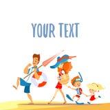 Famiglia sveglia del fumetto sulla spiaggia Isolato su bianco Immagine Stock