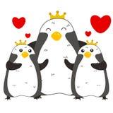 Famiglia sveglia del pinguino Immagini Stock Libere da Diritti