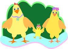 Famiglia sveglia del pollo Fotografie Stock
