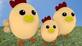 Famiglia sveglia del pollo su erba Immagini Stock Libere da Diritti