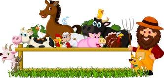Famiglia sveglia dell'azienda agricola con il bordo in bianco Immagini Stock