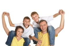 Famiglia sveglia isolata Fotografie Stock Libere da Diritti