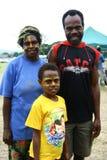 Famiglia tribale del villaggio del Vanuatu Fotografie Stock Libere da Diritti