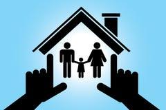 Famiglia in una casa con mia figlia Immagine Stock