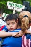 Famiglie immigrate su marzo Fotografia Stock Libera da Diritti