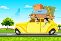 Famil in Car on Tour. Illustration of family in car loaded with luggage going for trip Royalty Free Stock Image