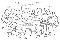 Famile having picnic outdoors. Happy famile having picnic outdoors vector illustration