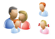 Famili. Happy family icons collection multicolored in three figures Royalty Free Stock Image