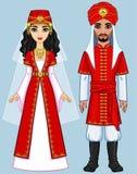 Familia árabe de la animación en ropa antigua Fotos de archivo libres de regalías