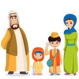 Familia árabe del vector en ropa nacional Padres, niños en los musulmanes, trajes islámicos libre illustration