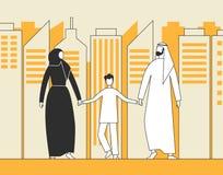 Familia árabe tradicional, hombre musulmán, mujer y niño caminando en el fondo de los rascacielos de la ciudad Ejemplo plano del  libre illustration