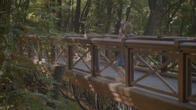 Familia étnica multi relajada que disfruta de la naturaleza en parque almacen de metraje de vídeo