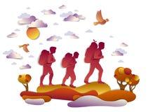 Familia activa feliz que camina en otoño a través de prados y de campos stock de ilustración