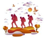 Familia activa feliz que camina en otoño a través de prados y de campos libre illustration