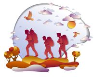 Familia activa feliz que camina en otoño a través de prados y de campos ilustración del vector