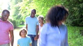 Familia afroamericana de la generación multi que camina a través de campo almacen de metraje de vídeo