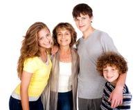 Familia aislada en el fondo blanco Imagenes de archivo