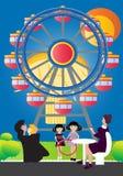 Familia al lado de Ferris Wheel ilustración del vector